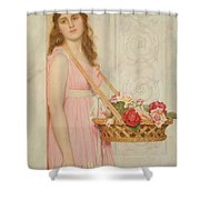The Flower Seller Shower Curtain by George Lawrence Bulleid