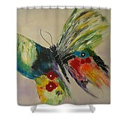 The Flying Butterfly Shower Curtain by Clement Tsang