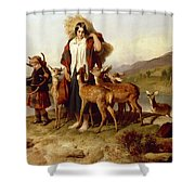 The Forester's Family Shower Curtain by Sir Edwin Landseer