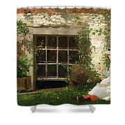The Four Leaf Clover Shower Curtain by Winslow Homer