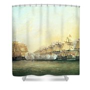 The Fourth Action Off Trincomalee Between The English And The French Shower Curtain by Dominic Serres