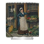 The Fruit Seller Shower Curtain by Victor Gabriel Gilbert