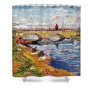 The Gleize Bridge Over The Vigneyret Canal  Shower Curtain by Vincent van Gogh