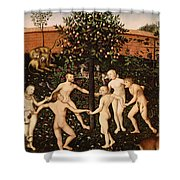 The Golden Age Shower Curtain by Lucas Cranach