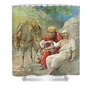 The Good Samaritan Shower Curtain by Ambrose Dudley