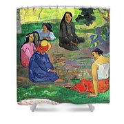 The Gossipers Shower Curtain by Paul Gauguin