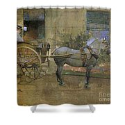 The Governess Cart Shower Curtain by Joseph Crawhall