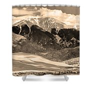The Great Colorado Sand Dunes In Sepia Shower Curtain by James BO  Insogna