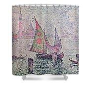 The Green Sail Shower Curtain by Paul Signac