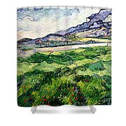 The Green Wheatfield behind the Asylum Shower Curtain by Vincent van Gogh