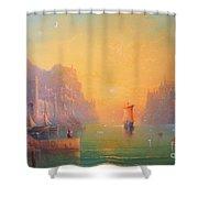 The Grey Havens. The Gulls Lament.  Oil On Canvas Shower Curtain by Joe  Gilronan