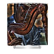 The Harp Player Shower Curtain by David Patterson