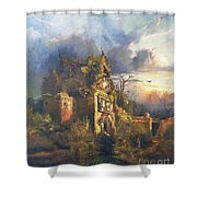The Haunted House Shower Curtain by Thomas Moran