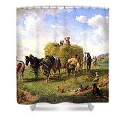 The Hay Harvest Shower Curtain by Hermann Kauffmann