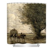 The Haycart Shower Curtain by Jean Baptiste Camille Corot