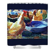 The Henhouse Watering Hole Shower Curtain by Kathy Braud
