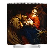 The Holy Family With Saint Francis Shower Curtain by Jacob van Oost