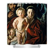 The Holy Family With St. John The Baptist Shower Curtain by Jacob Jordaens
