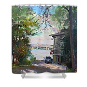 The House By The River Shower Curtain by Ylli Haruni