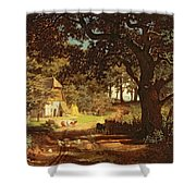The House in the Woods Shower Curtain by Albert Bierstadt