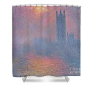 The Houses Of Parliament London Shower Curtain by Claude Monet