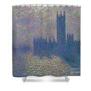 The Houses Of Parliament Stormy Sky Shower Curtain by Claude Monet