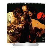 The Incredulity of Saint Thomas Shower Curtain by Caravaggio
