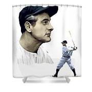 The Iron Horse  Lou Gehrig Shower Curtain by Iconic Images Art Gallery David Pucciarelli