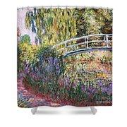 The Japanese Bridge Shower Curtain by Claude Monet