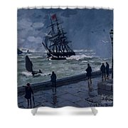 The Jetty At Le Havre In Bad Weather Shower Curtain by Claude Monet