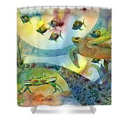 The Journey Begins Shower Curtain by Amy Kirkpatrick