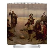 The Landing Of The Pilgrim Fathers Shower Curtain by George Henry Boughton