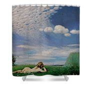 The Lark Shower Curtain by Pal Szinyei Merse