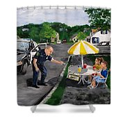The Lemonade Stand Shower Curtain by Jack Skinner