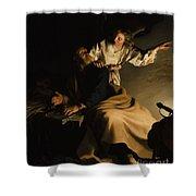 The Liberation Of Saint Peter Shower Curtain by Abraham Bloemaert