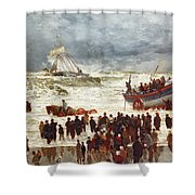 The Lifeboat Shower Curtain by William Lionel Wyllie