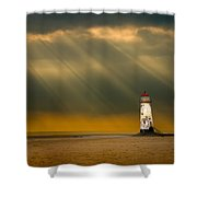 The Lighthouse As The Storm Breaks Shower Curtain by Meirion Matthias