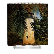 The Lighthouse In Key West Shower Curtain by Susanne Van Hulst