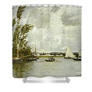 The Little Branch Of The Seine At Argenteuil Shower Curtain by Claude Monet