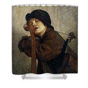 The Little Violinist Sleeping Shower Curtain by Antoine Auguste Ernest Hebert