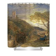 The Lonely Tower Shower Curtain by Samuel Palmer
