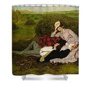 The Lovers Shower Curtain by Pal Szinyei Merse