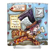 The Mad Hatter - In Court Shower Curtain by Lucia Stewart