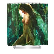 The Malachite Light Shower Curtain by Sergey Ignatenko