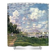 The Marina At Argenteuil Shower Curtain by Claude Monet