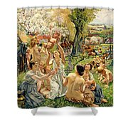 The Morning Shower Curtain by Leon Henri Marie Frederic