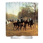 The Morning Ride Rotten Row Hyde Park Shower Curtain by Heywood Hardy