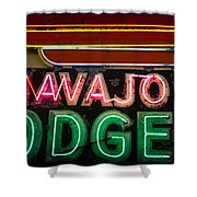The Navajo Lodge Sign In Prescott Arizona Shower Curtain by David Patterson
