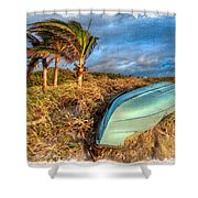The Old Blue Boat Shower Curtain by Debra and Dave Vanderlaan
