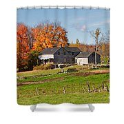 The Old Farm In Autumn Shower Curtain by Louise Heusinkveld